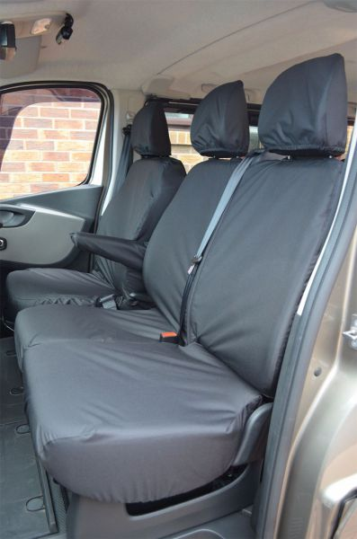 Black Front Rear Seat Covers Renault Trafic Crew Cab 2014