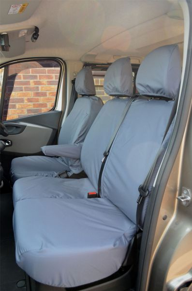 Vauxhall Vivaro Double Cab 2014-2019 Waterproof Tailored Rear Black Seat Covers