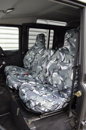 Tailored Grey Front Middle and Rear Seat Covers for Land Rover Defender 83-07