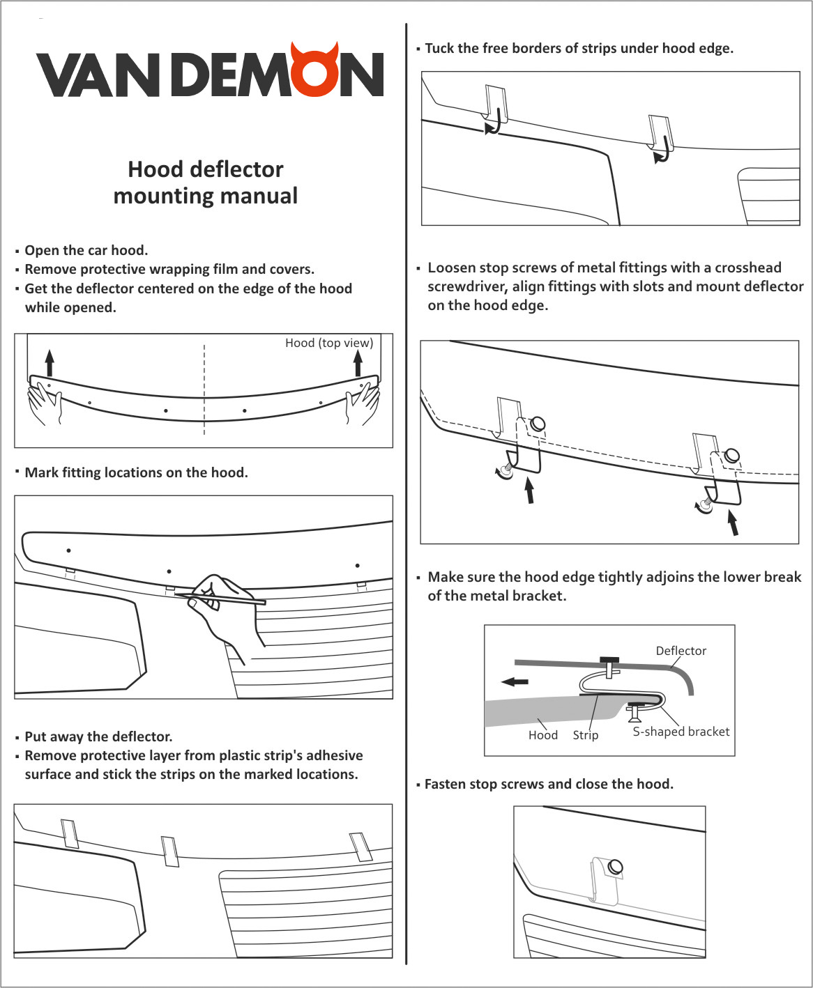 Bonnet Guard fitting instructions