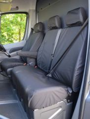 Tailored Front Row Pass. Armrest Seat Covers in Black (1+2)
