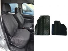 Tailored Black Front Seat Covers & 2pc Rubber Mat