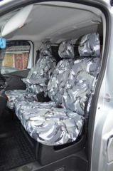 Tailored Grey Camo Front Seat Covers w/Armrests (1+2)