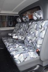 Tailored Triple Rear Bench Seat in Grey Camo w/Armrests