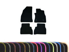 Classic Carpet Floor Mats with Colour Edge Trim (4pc)