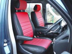 Leatherette Front Row Seat Covers in Black/Red (1+1)