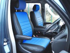 Leatherette Front Row Seat Covers in Black/Blue (1+1)