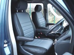 Leatherette Front Row Seat Covers in Black/Grey (1+1)