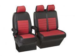 Leatherette Front Row Seat Covers in Black/Red (1+2)