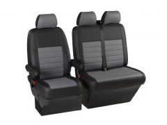 Leatherette Front Row Seat Covers in Black/Grey (1+2)