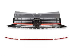 Gloss Black/Red Front Grille & Red Front Lower Grille