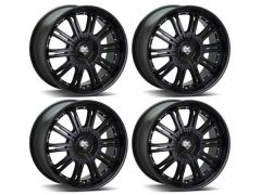 "Wolf Design Vermont 22"" Black & Silver Rivet Alloy Wheel"