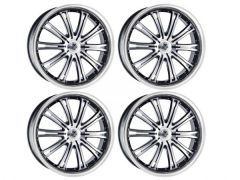 "Wolf Design Vermont 20"" Black & Polished Lip Alloy Wheel"